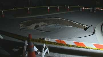 A sinkhole opened up overnight in a Clermont neighborhood.