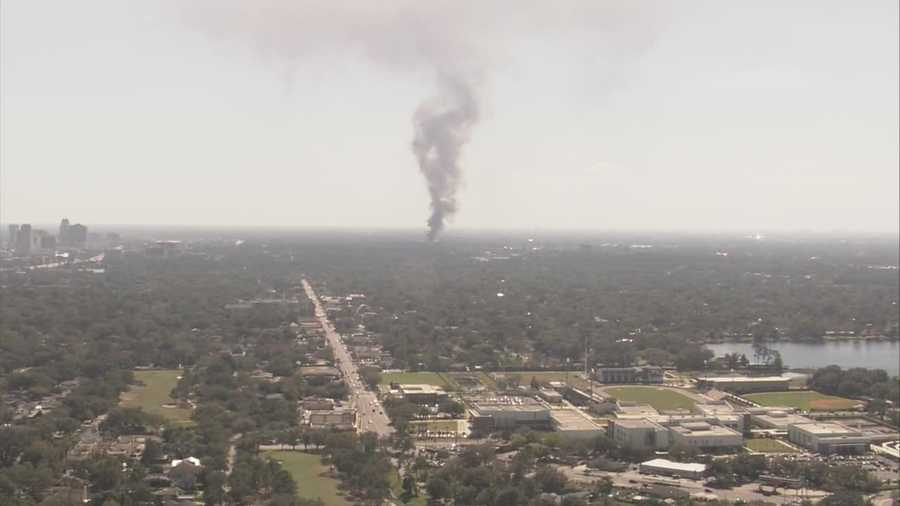 Tires caught fire when a building went up in flames on Wednesday.