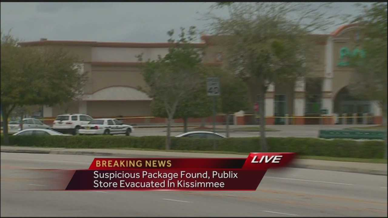 A Kissimmee Publix supermarket has been evacuated because a suspicious package was found outside the store.