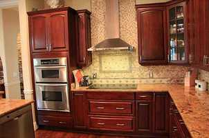 This alternate view of the kitchen features more of the incredible appliances.