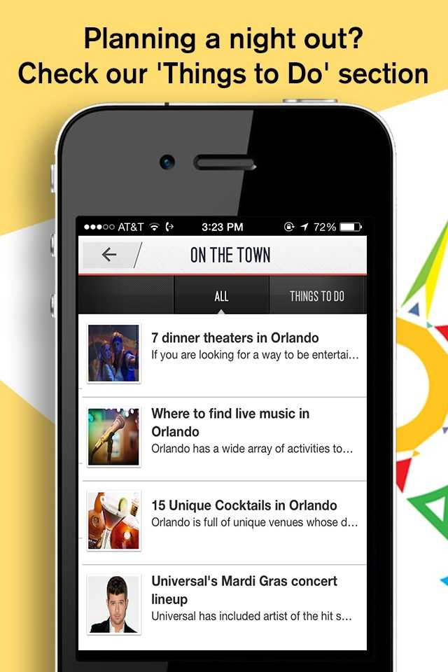 "Are you a Central Florida resident planning a night out? Check our ""Things to Do"" section for ideas."