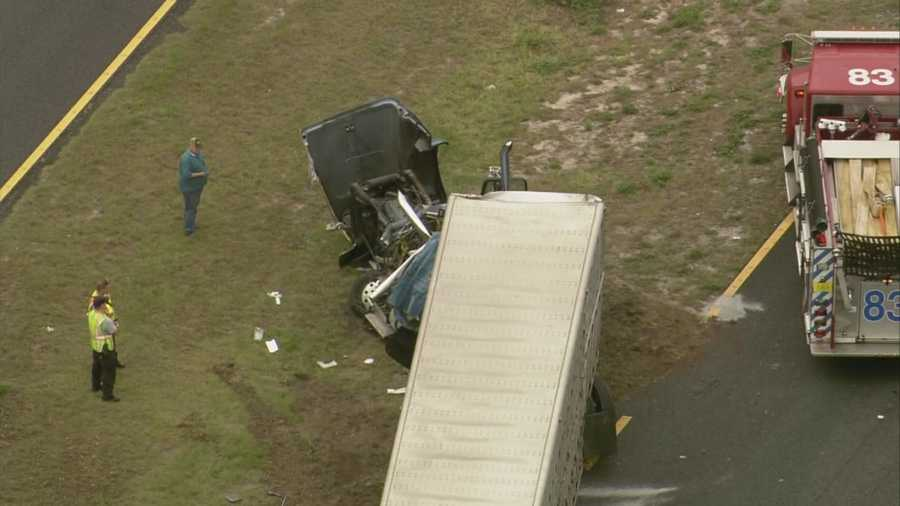 The driver of a semi-truck was taken to Orlando Regional Medical Center with a broken arm after two trucks crashed on U.S. 27 in Groveland on Wednesday.