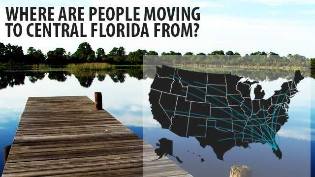 Every state in America sent new residents to central Florida from 2007-2011. Find out which states had the most people move here.(Data from flowsmapper.geo.census.gov)