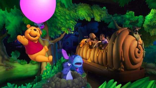46. Many Adventures of Winnie the Pooh: Guests board a giant Hunny Pot and bounce and swirl through some of the most popular scenes and settings of Winnie the Pooh.Location: FantasylandHeight: Any