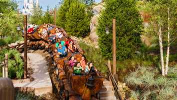 49. Seven Dwarfs Mine Train: Climb aboard and dive through the diamond mine from Snow White and the Seven Dwarfs on this roller coaster. Location: FantasylandHeight: 38in (97cm) or taller