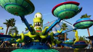 6. Kang & Kudos' Twirl 'n' Hurl: Located at Springfield U.S.A., this ride takes guests on an intergalactic spin designed to send you into orbit.