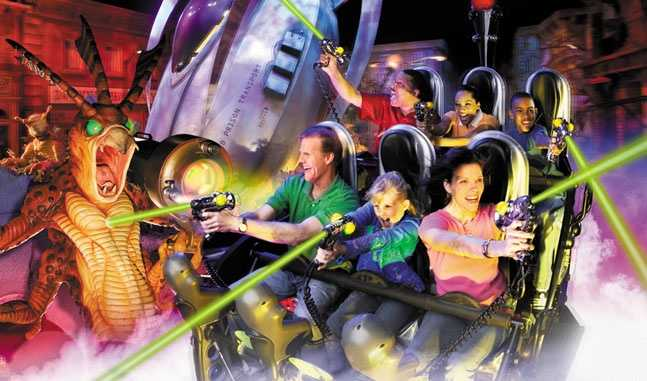 7. Men and Black: Alien Attack: Guests will transform into an agent trainee while zapping aliens in a chase through the streets of New York. Location: World Expo areaHeight requirement: 42 inches