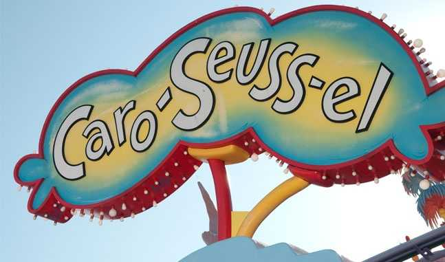15. Caro-Seuss-el: Several of the unusual characters from the stories of Dr. Seuss are ready to be mounted on this one-of-a -kind carousel.