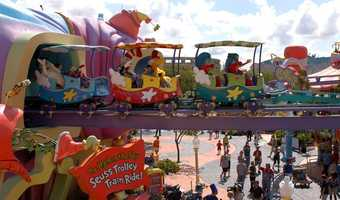 19. The High in the Sky Suess Trolley Train Ride: This twin-tracked ride provides guests with a gentle journey above all the rides at Seuss Landing. Height requirement: 40-48 inches