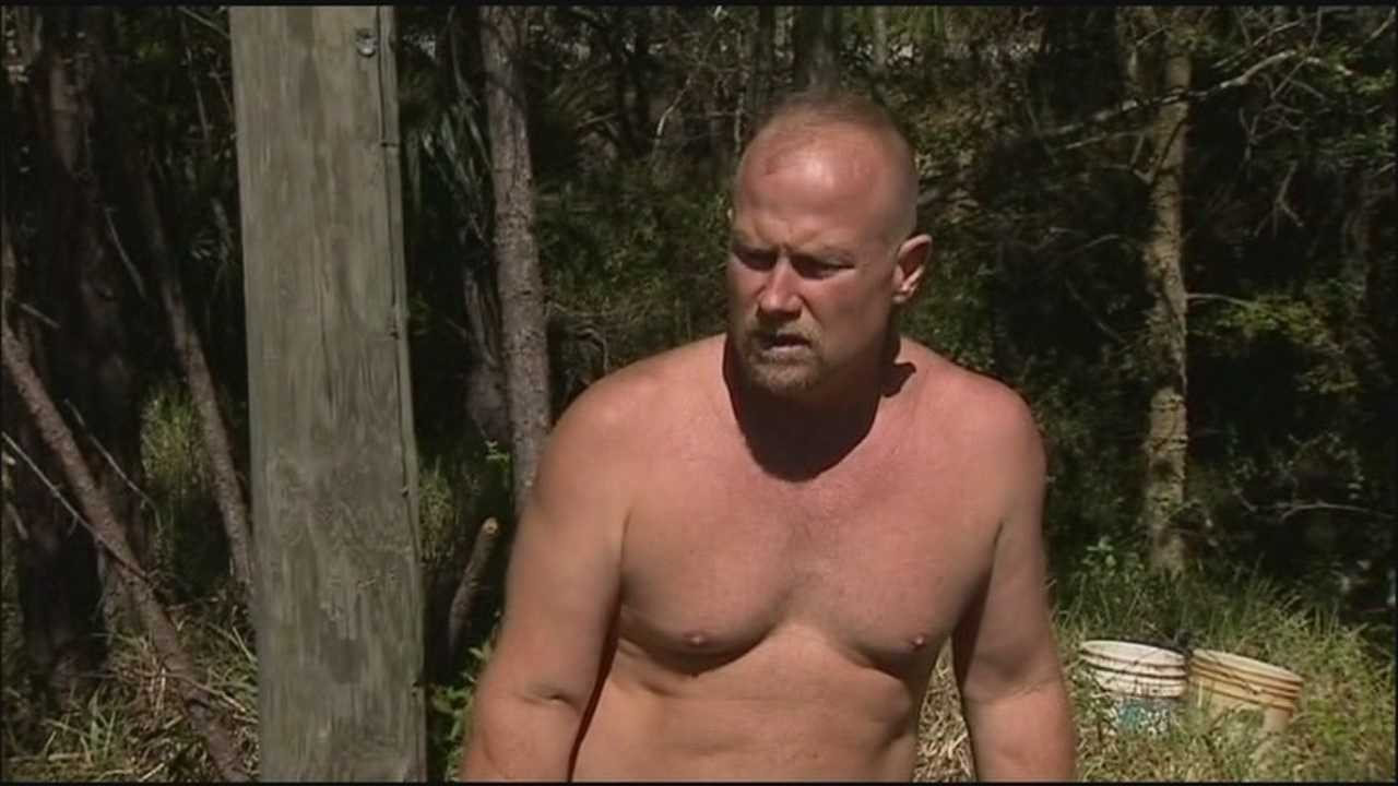 A Daytona Beach man is living in a homemade outpost on Florida wasteland, officials say.