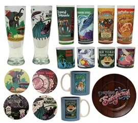 Glassware, small plates and coasters will be available with decoration from several of the attraction posters.