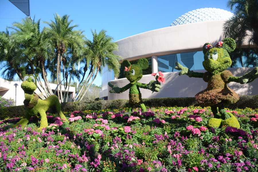 The Epcot International Flower & Garden Festival showcased 99 topiaries formed into favorite Disney characters throughout the park.