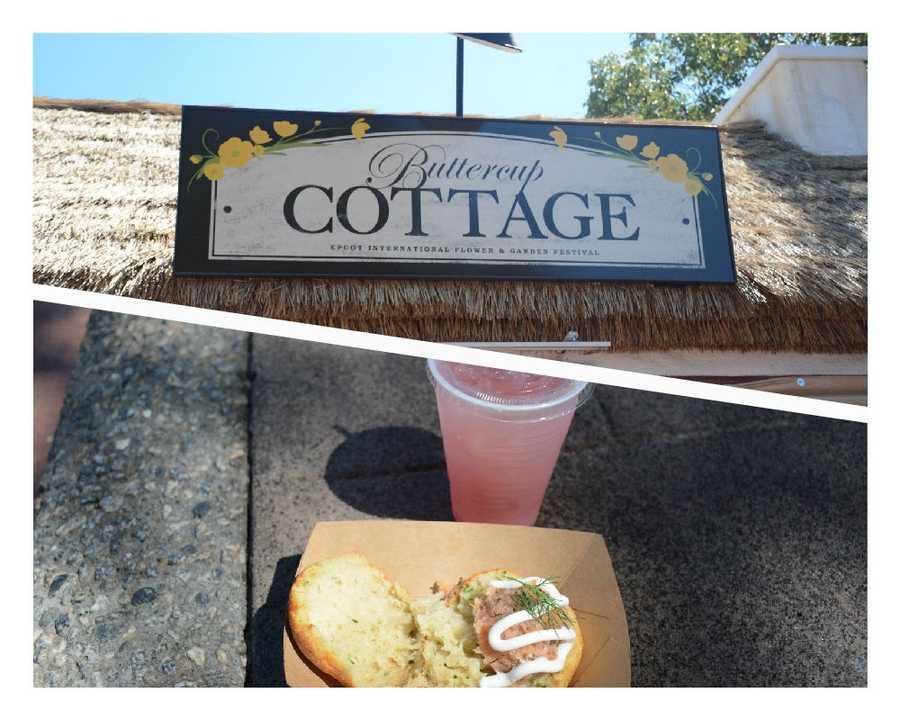 Chef's pick #1: Buttercup Cottage, nestled in United Kingdom, serves a freshly baked potato and cheddar cheese biscuit with smoked salmon tartare. $4.50Wash it down with the chilled rose blush lemonade featuring Simply Lemonade with raspberry. (Non-alcoholic) $2