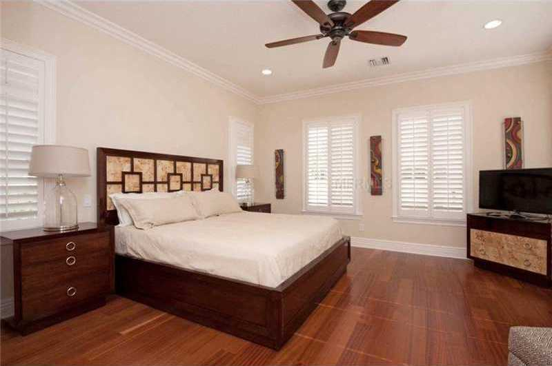 Wooden floors in the guest suite.