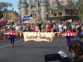 Over 100 performers are featured in Disney's Festival of Fantasy Parade which began on Sunday. Some of the floats stretch to over 30 feet including the fire-breathing Maleficent Dragon.