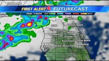See an hour-by-hour look at rain expected on Monday.