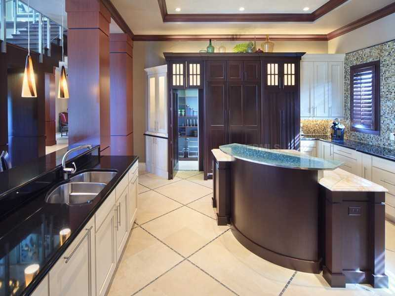 From this angle, you can see the kitchen's beautiful cabinetry.