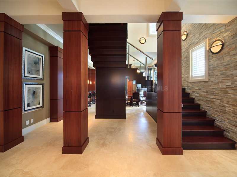 Gorgeous slate wall compliments the staircase.