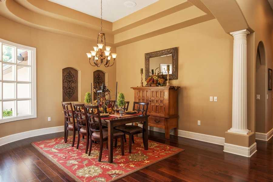 Vaulted ceilings in the formal dining room.