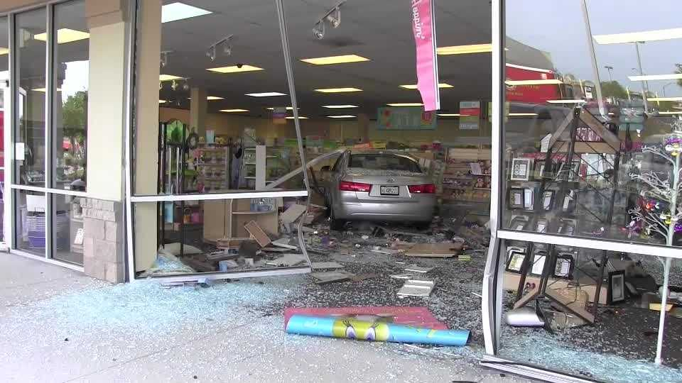 Raw video: Interview with driver who crashed into Hallmark store