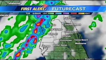 See an hour-by-hour look at rain expected on Tuesday.
