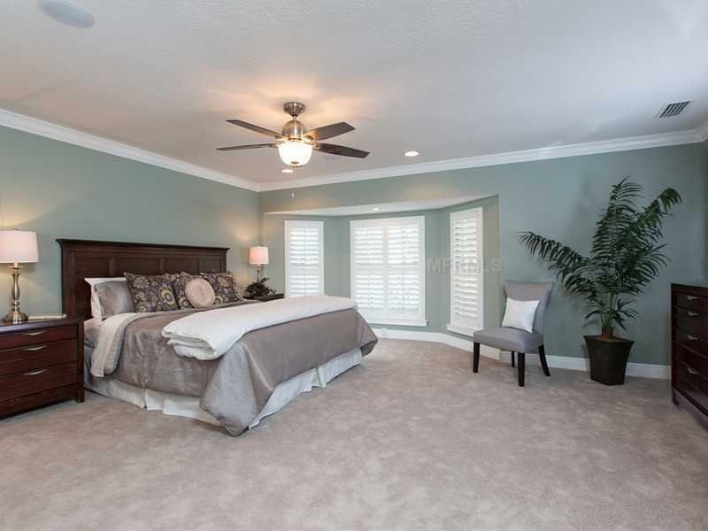 Downstairs master retreat features double doors, bay window, and walk-in closet.