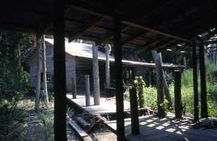 Abandoned buildings at the fishing village of Aripeka, Florida. (1986)