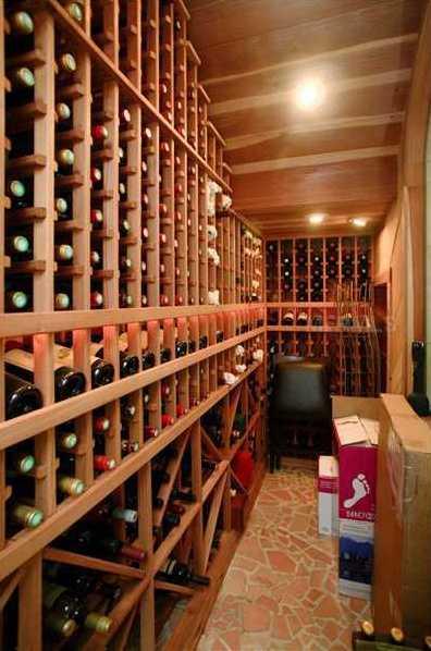 An expansive wine cellar.
