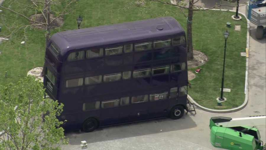 "The tripple-decker ""Knight Bus"" will sit in the London park area of the Wizarding World of Harry Potter."