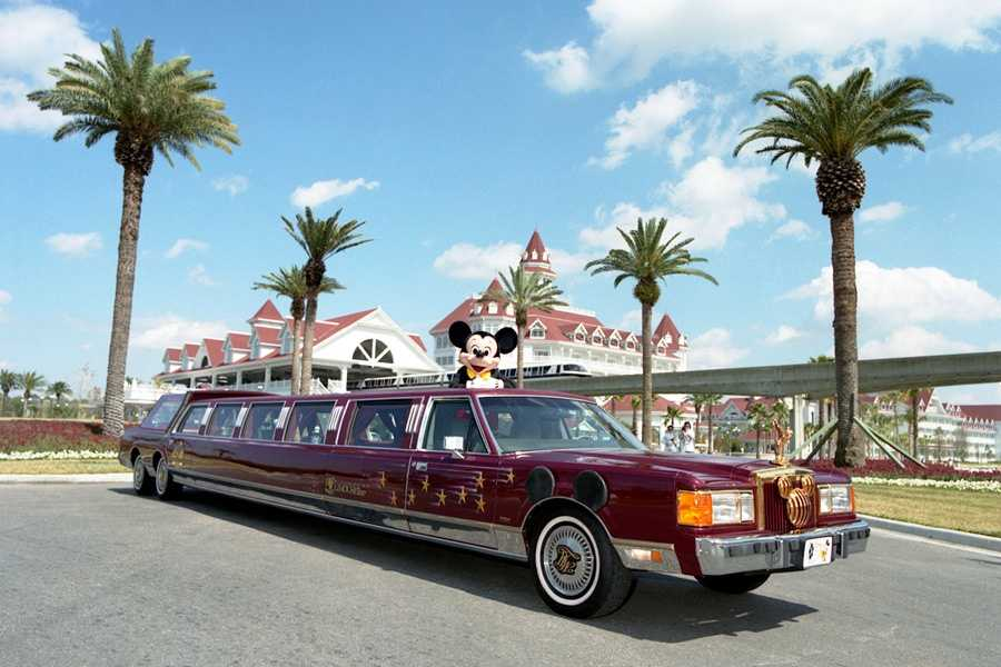 Mickey Mouse rode a LiMOUSEine on a 37-city tour promoting the opening of Disney-MGM studios.