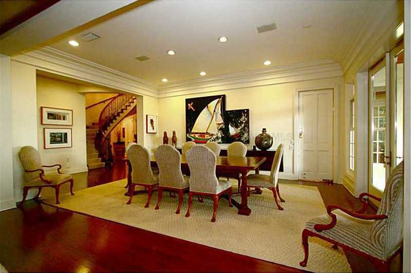 The expansive dining room is ideal for entertaining.