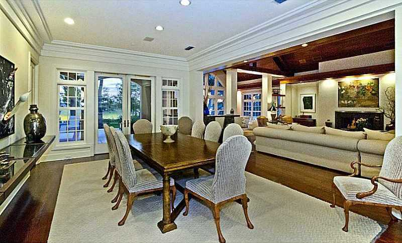 The dining room's french doors provide access to the porch.