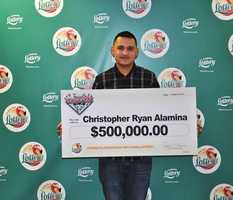 Christopher Alamina, of Palm Bay, won $500,000 from a scratch-off.