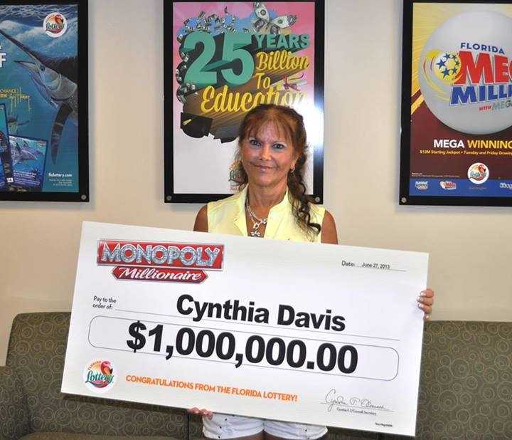 Cynthia Davis, of Ponte Vedra, won $1 million on a scratch-off.