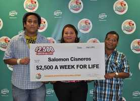 Salomon Cisneros, of Jupiter, won $2,500 a week for life from a scratch-off.