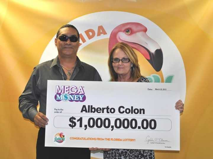 Alberto Colon, of Sanford, claimed his share of a Mega Money jackpot of $2 million. Colon chose the one-time, lump-sum payment in the amount of $808,134.53.