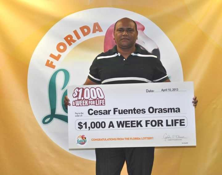 Cesar Fuentes Orasma, of Miami, won $1,000 a week for life from a scratch-off.