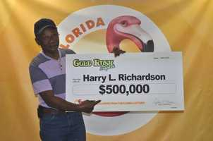 Harry L. Richardson, of Williston, won $500,000 from a scratch-off.