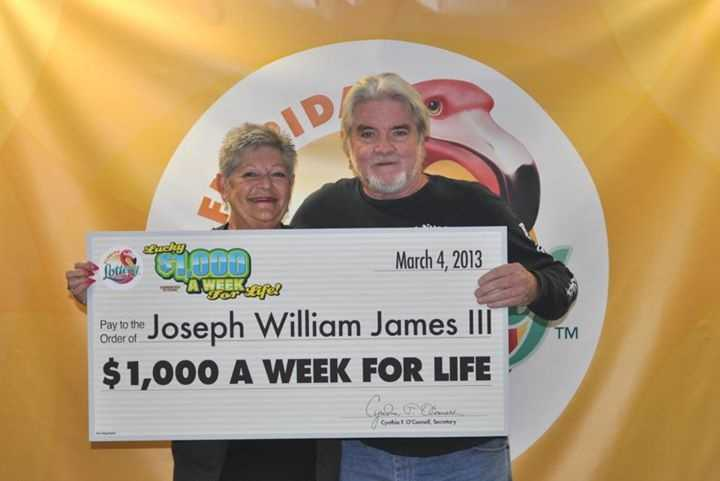 Joseph William James III, of Fort Lauderdale, won $1,000 a week for life from a scratch-off.