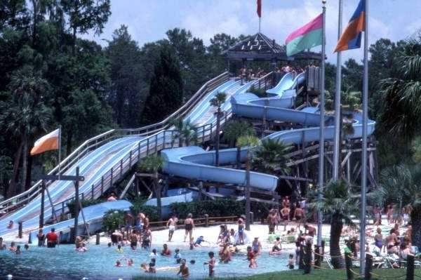 Buccaneer Bay is an area with water slides that operate daily in the summer. This picture was taken in 1987.