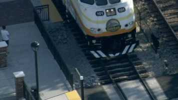 A SunRail train hit a landscaping truck in Longwood on Wednesday. No one was hurt.