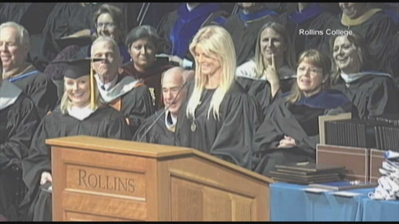 Tiger Woods' ex-wife was honored as an outstanding senior during her graduation from Rollins College over the weekend.