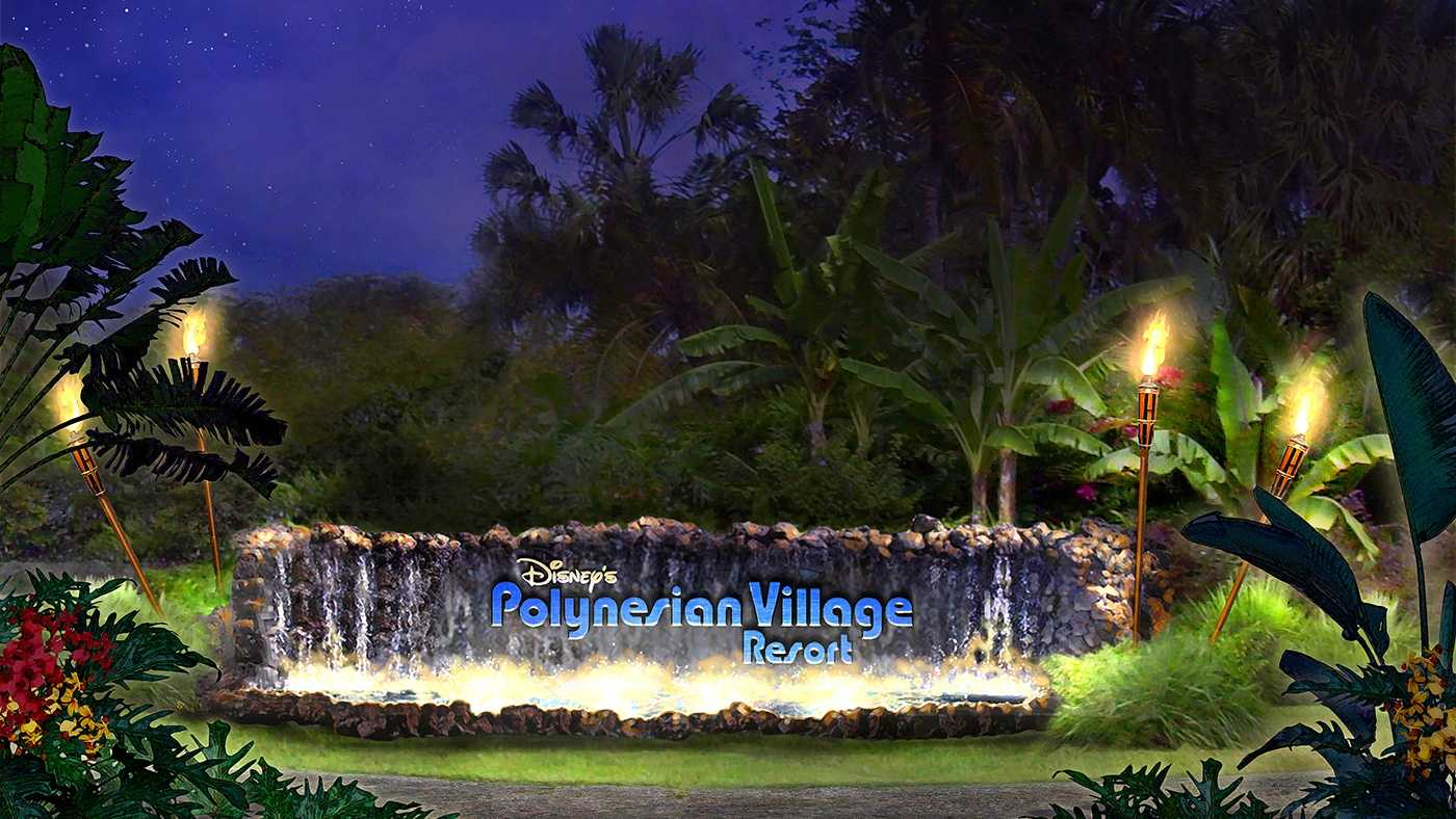 The name of the resort will be changed to what it was called when it originally opened in 1971, the Polynesian Village Resort. The name will be featured on the marquee, which is made of lava rock. The marquee will be surrounded by flowing water, tiki torches and hibiscus flowers.