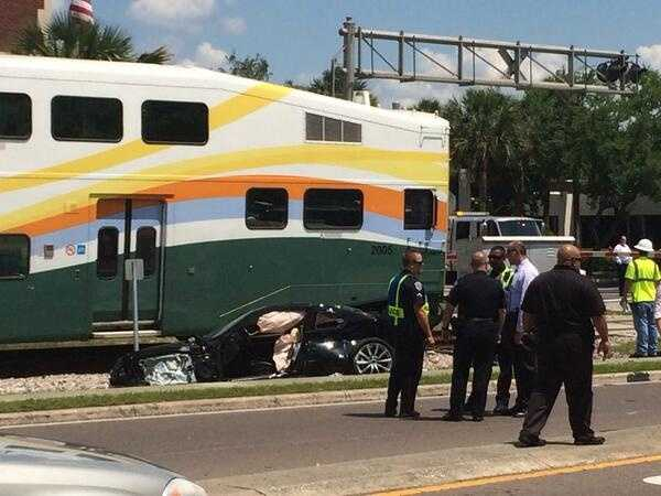 A SunRail train has collided with a car that was stalled on the tracks in Maitland.Read full story