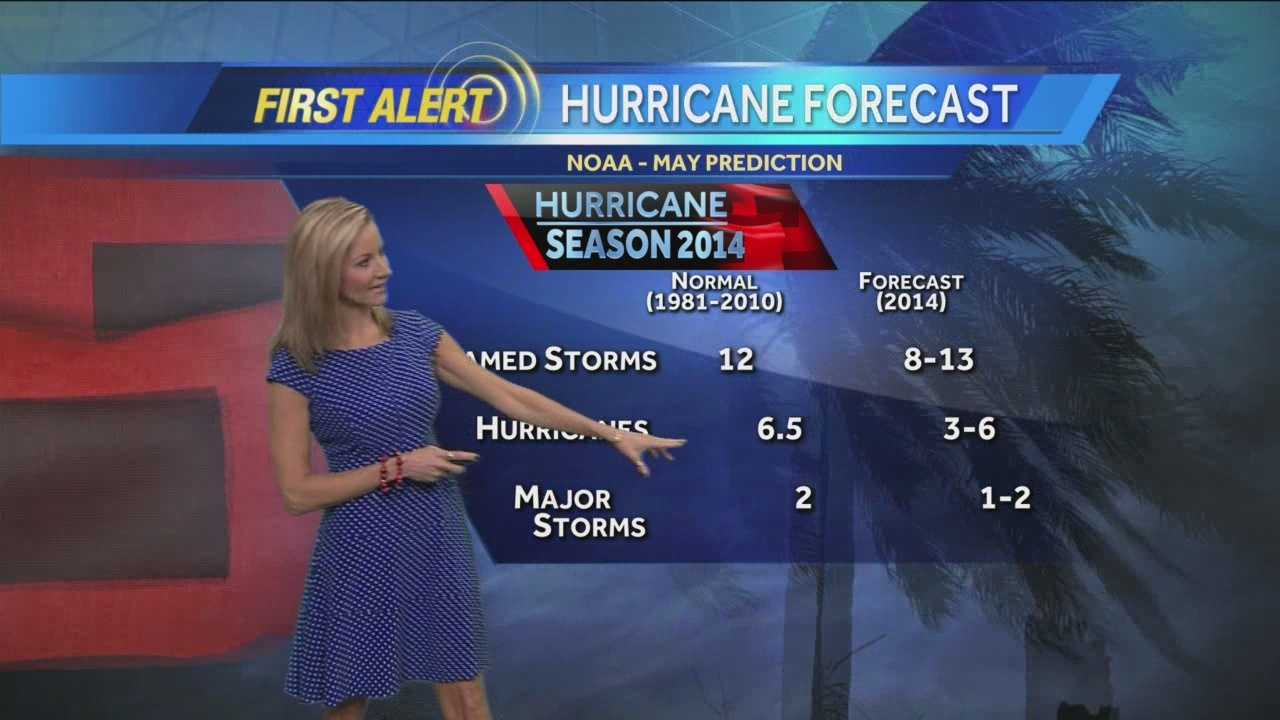 NOAA predicts a near-normal or below-normal 2014 Atlantic hurricane season.