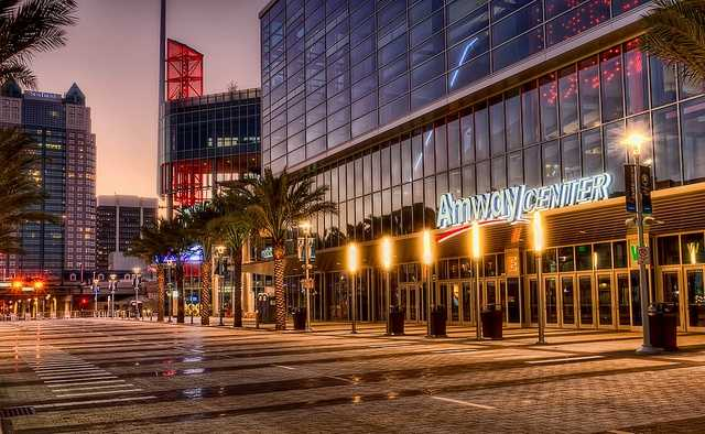 Amway Center at night
