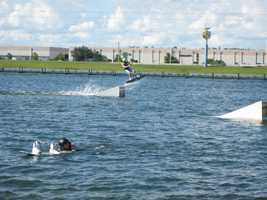 """34. Learn how to ski at the Orlando Water Sports Complex.TIP: If it's your first time to try water sports, try the """"Get up Guarantee"""" experience. It's a fifteen minute one-on-one learning session. ($59)"""