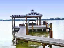 The lengthy dock leads to a covered port for your vehicle.