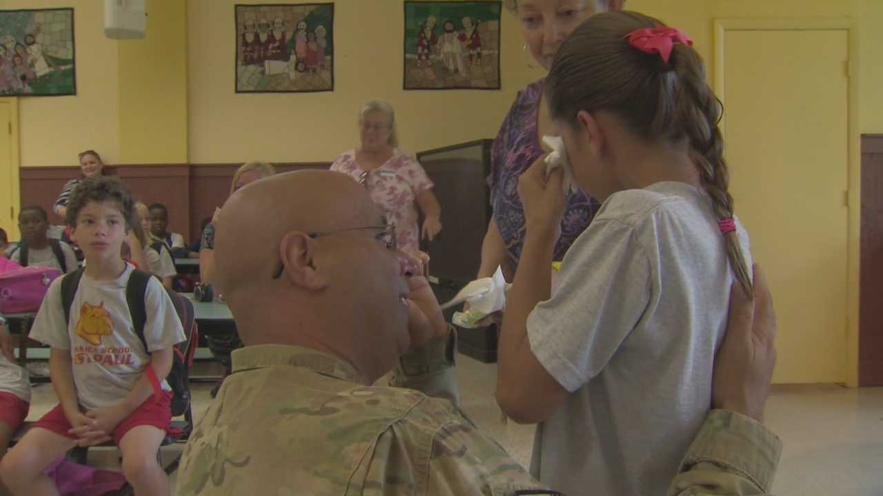 Army Staff Sgt. Anthony Petrelli, of Daytona Beach, returned home to surprise his 9-year-old daughter at school.