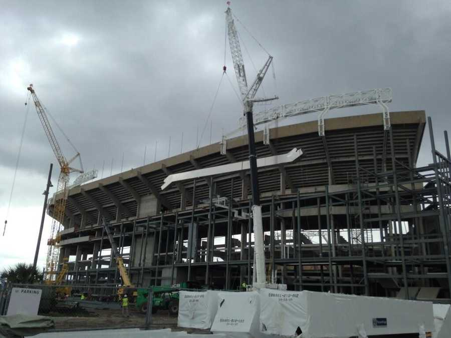 Two 135-foot long, 45,000-pound escalators are being installed at the renovated Citrus Bowl.